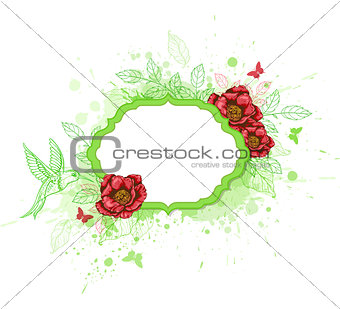 Green vector  banner with red peony