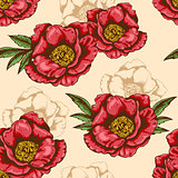 Seamless pattern with red peony