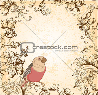Victorian floral  background with bird