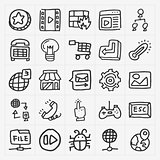 doodle web icons set