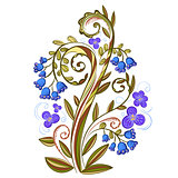 Decorative floral colored pattern with leaves