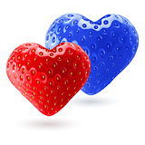Red and blue strawberry hearts
