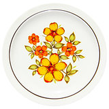 painting yellow flowers on dish