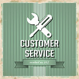 Customer Service Concept on Green in Flat Design.