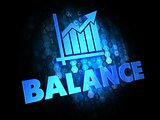 Balance - Blue Text on Digital background. Growth Concept.