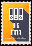 Big Data on Yellow in Flat Design.