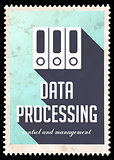 Data Processing on Blue in Flat Design.