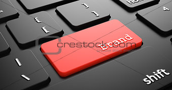 Brand on Red Keyboard Button.