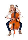 blonde girl playing double bass