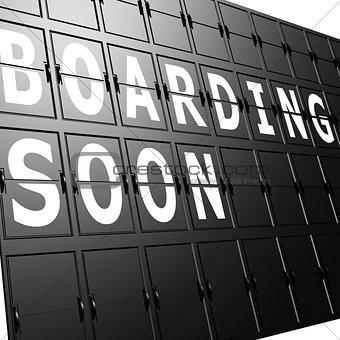 Airport display boarding soon