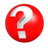 Red sphere question mark