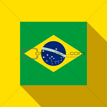 Brazil 2014 Flat Icon with Brazilian Flag
