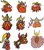 Comic viking heads