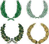 Set of four heraldic wreaths