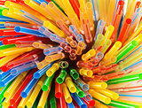 Colored Plastic Drinking Straws closeup