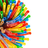 Colored Plastic Drinking Straws with copy-space