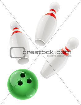 Skittles and ball for playing the bowling game