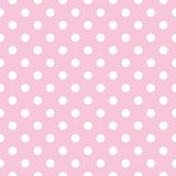 Seamless vector pattern with white polka dots on a pastel pink tile background.
