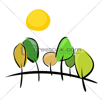 Green and brown trees on the hill at sunny spring or summer day illustration