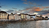 View of Limmat river and Zurich