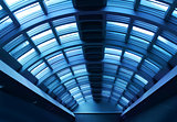 Futuristic hallway steel corridor