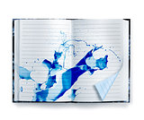 Blue memories notebook ink splash