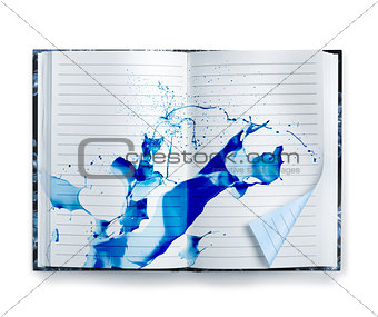 Blue memories notebook ink splash