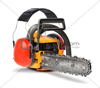 Chain saw  with ear protectors