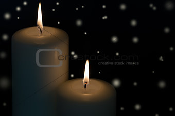 Candles with snow flakes