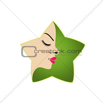 A lady's face in a flower- logo for parlor business