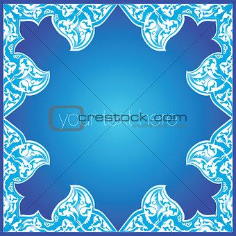 blue oriental ottoman design forty five