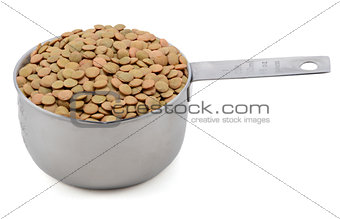 Green lentils in an American cup measure