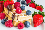 sweet fresh mixed fruits with tasty waffles