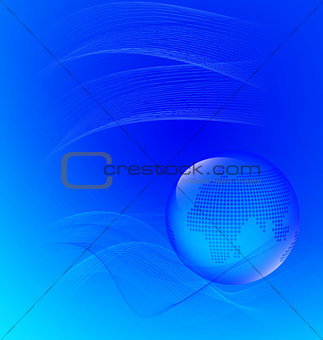 Abstract blue  with waves and globe