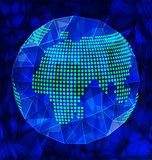 Blue polygonal globe