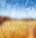 Blurred yellow and blue with polygonal mosaic