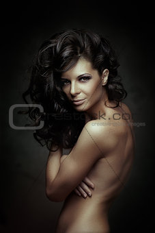 Black Curly  Hair. Fashion Girl Portrait. Long Hair