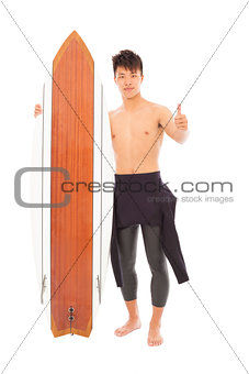 young surfer wearing wet suit and thumb up