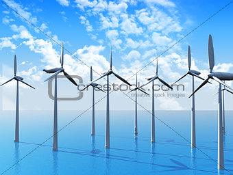 3D Wind turbines in ocean