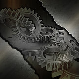Grunge metal gears background