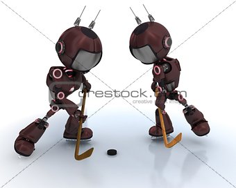 Androids playing ice hockey