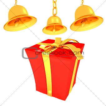 Gold bell and red gift box with golden ribbon
