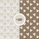 Seamless patterns. Hearts.