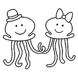 Outlined illustration of just married jelly-fishes