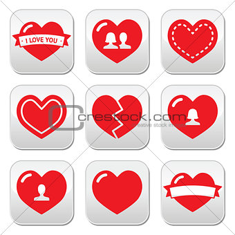 Love hearts icons set for Valentine's Day