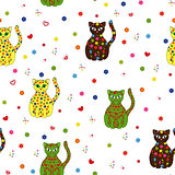 Seamless vector illustration with different stylized cats