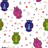 Seamless vector illustration with different stylized owls