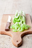 bundle of fresh green celery stems
