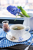 Cup of fresh herbal tea