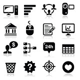 Website menu navigation black vector icons set